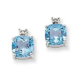 14k White Gold Blue Topaz and Diamond Post Earrings