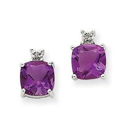 14k White Gold Amethyst and Diamond Post Earrings
