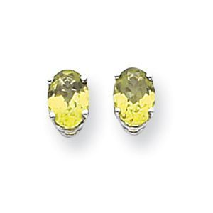 14k White gold 7.5mm Oval Peridot Earrings