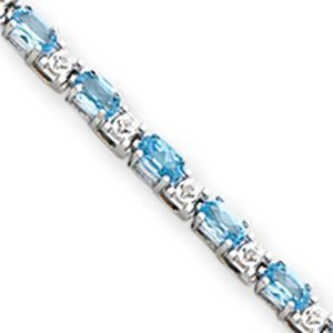 14k White Gold Blue Topaz and Diamond Bracelet