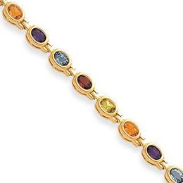 14k Gemstone Rainbow Bracelet