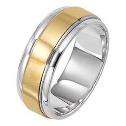 14k Two Tone Mens 8mm Comfort Fit Wedding Band