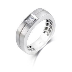 Simon G Mens Diamond Band 14k White Gold