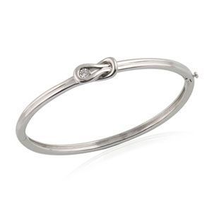 Sterling Silver Everlon Diamond Knot Bangle