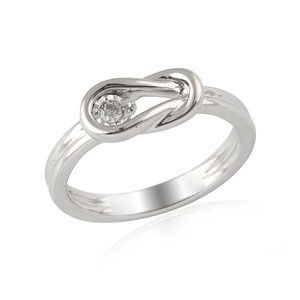 Sterling Silver Everlon Diamond Knot Ring