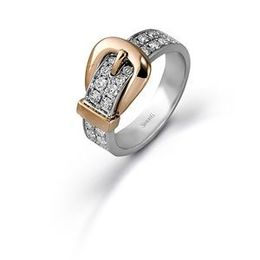 Simon G Two Tone Fashion Buckle Ring
