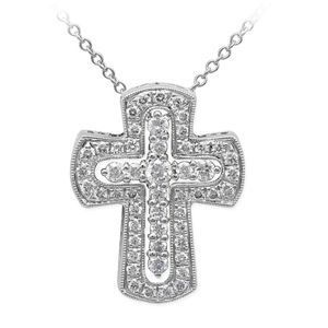 Simon G Diamond Cross Pendant in White Gold