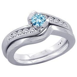 1/2 Carat Blue Diamond Wedding Set