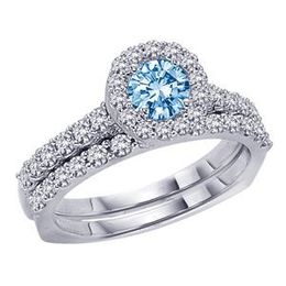 3/4 Carat Blue Diamond Bridal Set