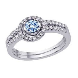 Blue Diamond Engagement Ring and Wedding Band Set