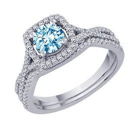 Blue Diamond Center Bridal Set in 14k White Gold