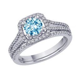 Blue Diamond 1 Carat Wedding Set