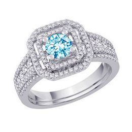 Blue Diamond Bridal Set in 14k White Gold