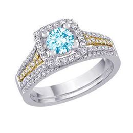 Blue Diamond Bridal Set in Two Tone Gold