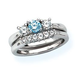 1 Carat Blue Diamond Wedding Band And Engagement Ring