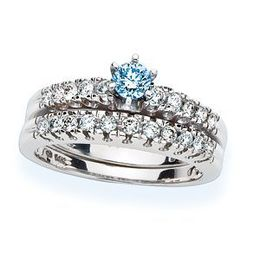 3/4 Carat Blue Diamond Bridal Set 14k White Gold