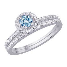 Blue Diamond Center Wedding Set in 14k White Gold
