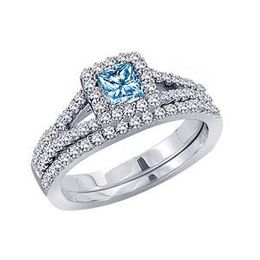 1 Carat Blue Diamond Wedding Set in 14k White Gold