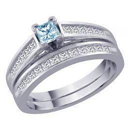 Blue Diamond Princess Cut Diamond Bridal