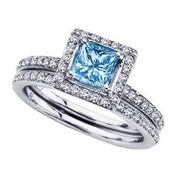 Blue Diamond Engagement Set in 14k White Gold
