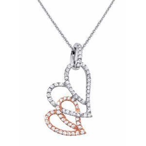 Simon G Two Tone Diamond Heart Pendant