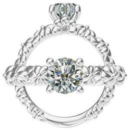 Harout R Floral Design Diamond Engagement Ring