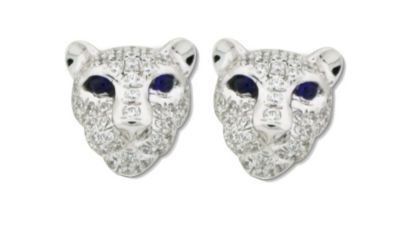 Genuine Sapphire and CZ Lion Head Earrings