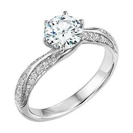 ArtCarved Twisted Round Diamond Engagement Ring