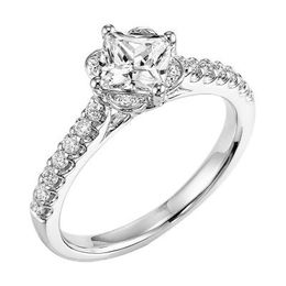 ArtCarved Tulip Setting Princess Cut Engagement Ring
