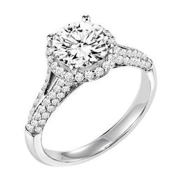 ArtCarved Double Diamond Row Engagement Ring