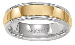 ArtCarved Harrison Men's Two Tone Wedding Band