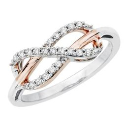 Diamond Infinity Symbol Ring Two Tone