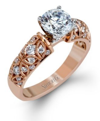 Gorgeous 18K Rose Gold Simon G. Engagement Ring