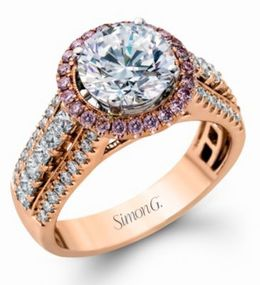 Pink & White Diamond Simon G. Engagement Ring