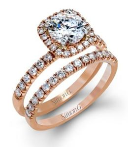 Eye-Catching Simon G. Engagement Ring & Band Set