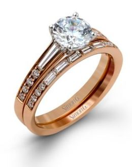 18K Rose Gold Simon G. Wedding Set