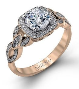 Vintage Style Simon G. Engagement Ring