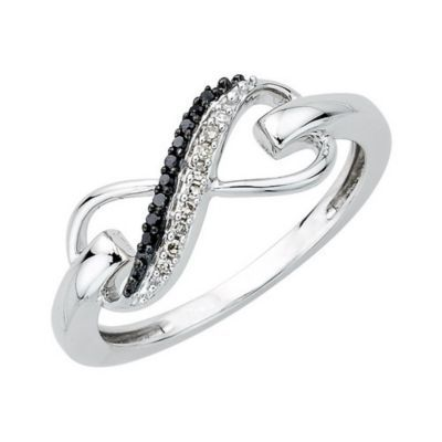 Black & White Sterling Silver Infinity Ring