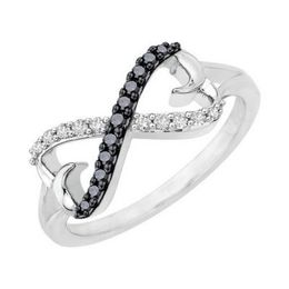 Chic Black & White Diamond Infinity Ring