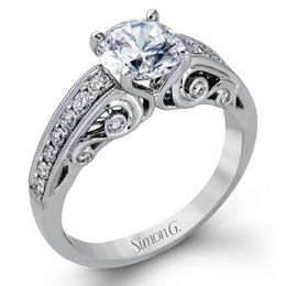 Stunning 18K White Gold Simon G. Engagement Ring