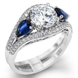 Stunning Natural Blue Sapphire Simon G. Engagement Ring