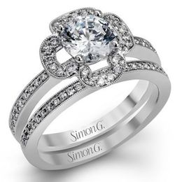 Stylish Simon G Diamond Engagement Ring