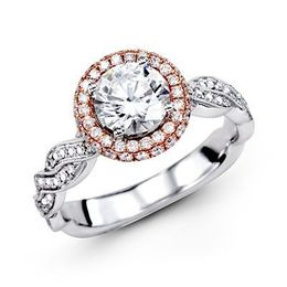 18K Rose & White Gold Simon G Engagement Ring