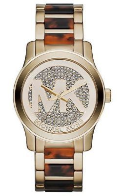 Michael Kors Golden Stainless Steel Logo Runway Watch MK5864
