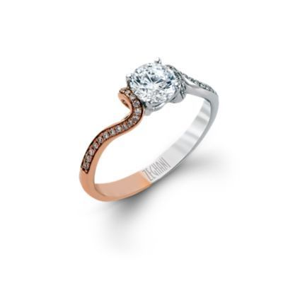 Zeghani 14K White & Rose Gold Engagement Ring