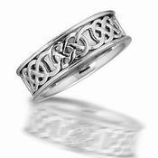 14K White Gold Celtic Band
