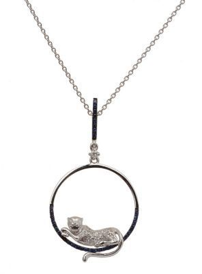 White Gold Lion Circle Pendant