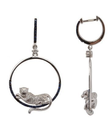 White Gold Lion Circle Earrings