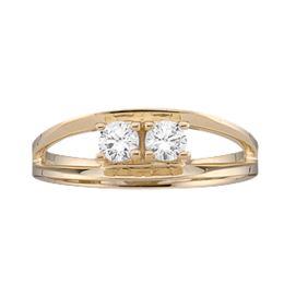 Yellow gold Mothers Ring style 3 with 2 Stones