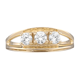 Yellow gold Mothers Ring style 3 with 3 Stones
